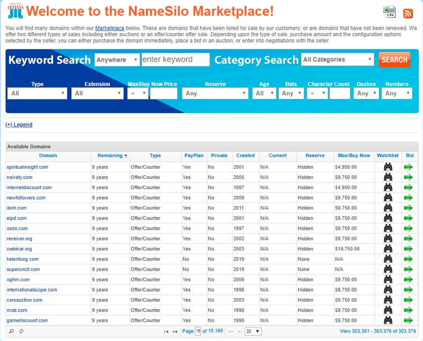 namesilo marketplace